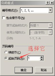 页码格式,选择起始页码